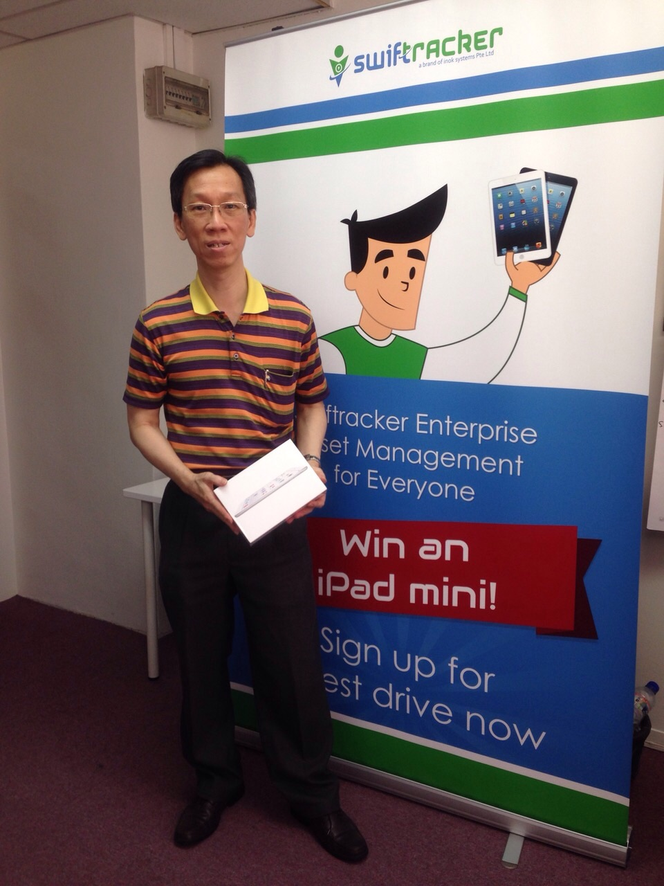 Congratulations to Andy Kang who won an iPAD mini for signing up for our Swiftracker Test Drive during Cloud Expo Asia